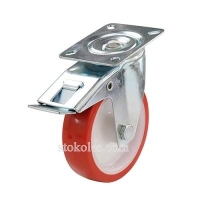 Колесо (полиуретан/полиамид) 330080 поворотное с тормозом