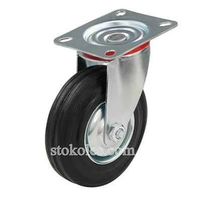 Колесо черная резина 520125 промышленное поворотное