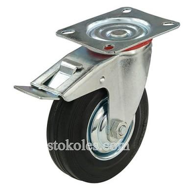 Колесо черная резина 530125 промышленное с тормозом