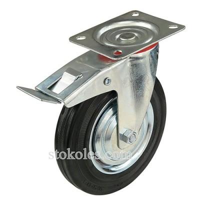 Колесо на черной резине 530200 с тормозом