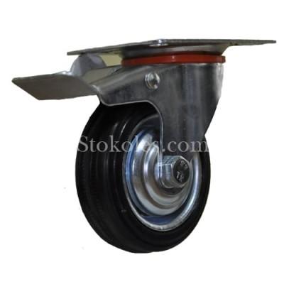 Колесо черная резина 530075 промышленное с тормозом
