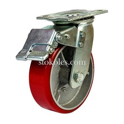 Большегрузное полиуретановое колесо 590150-(6x2) с тормозом