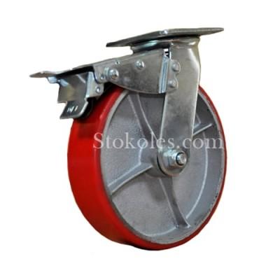 Большегрузное полиуретановое колесо 590200-(8x2) с тормозом